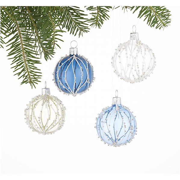 Set of 4 Branch Bead Ball Ornaments