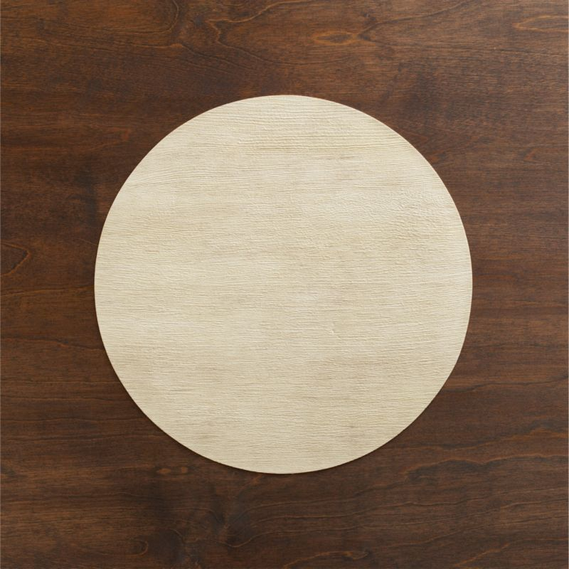 Textured round has the natural look of blond wood with easy care of vinyl.<br /><br /><NEWTAG/><ul><li>100% PVC</li><li>Clean with damp cloth</li><li>Made in USA</li></ul>