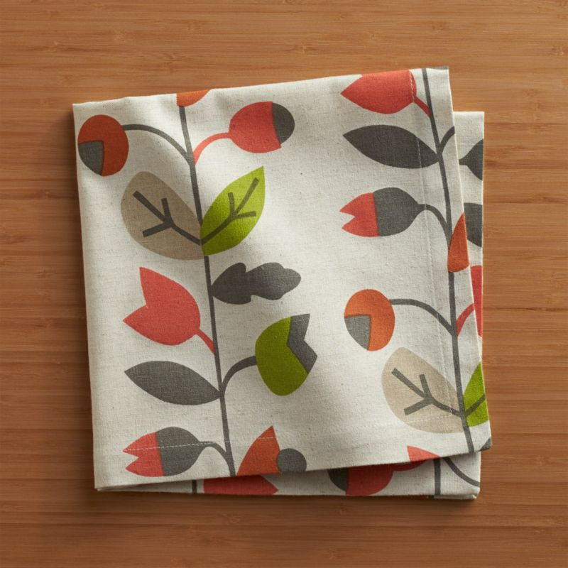 Berry-laden vines scroll autumn colors on natural cotton flax, screen-printed for an artisanal, organic look. Coordinate with matching placemats and runners.<br /><br /><NEWTAG/><ul><li>63% cotton and 37% linen</li><li>Machine wash cold, dry flat; warm iron as needed</li><li>Do not dry clean or bleach</li><li>Made in India</li></ul>