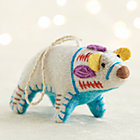 Bright Polar Bear with Aqua Belly Ornament.