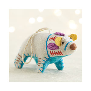 Bright Polar Bear with Aqua Belly Ornament