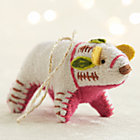 Bright Polar Bear with Pink Belly Ornament.