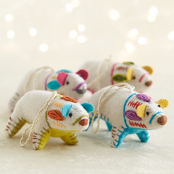 Bright Belly Polar Bear Ornaments