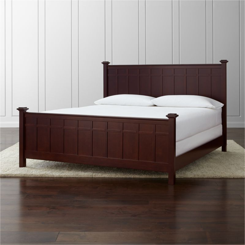 In an update on classic cottage styling, our Brighton king bed offers a clean, contemporary silhouette with squared-off headboard, footboard, posts and finials. The coffee brown finish and architectural board and batten detailing lend a distinctive touch to the traditional design. <NEWTAG/><ul><li>Designed by Blake Tovin of Tovin Design</li><li>Solid poplar and engineered wood with coffee brown lacquer finish</li><li>Naturally expands and contracts with changes in humidity</li><li>Adjustable for mattress and box spring or mattress only for under-bed storage</li><li>13 slats and 3 support legs</li><li>Mattresses and box springs also available (sold separately)</li><li>Maximum weight capacity: 800 pounds (includes weight of mattress, optional box spring and occupants)</li><li>Made in Vietnam</li></ul>