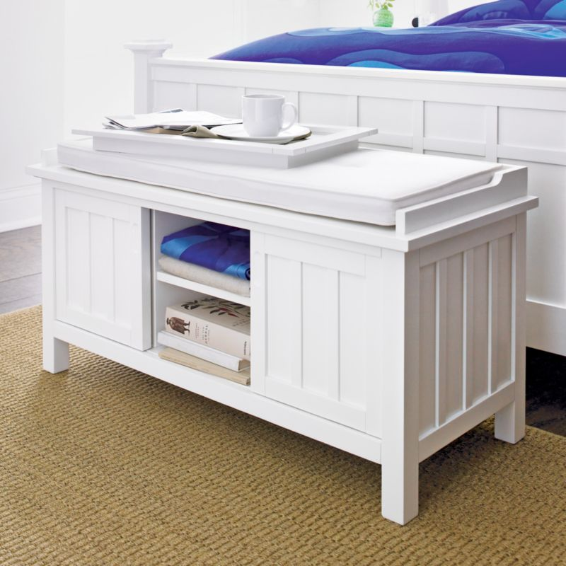 Brighton White Storage Bench with White Cushion