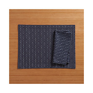 Brogue Navy Placemat and Napkin