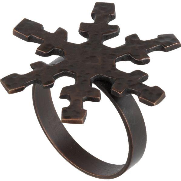Bronze Snowflake Napkin Ring