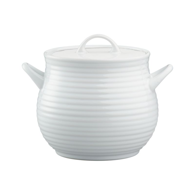 Brunswick's classic ribbed stoneware gets updated in crisp white. Charming lidded pot is oven-safe for serving soups and stews. Pot holds enough to fill eight bowls.<br /><br /><NEWTAG/><ul><li>Stoneware</li><li>Dishwasher-, microwave-, freezer-, and oven-safe</li><li>Not for stovetop use</li><li>Made in China</li></ul>