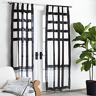Brush Black Ikat 36x84 Curtain Panel