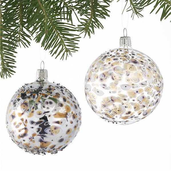 Set of 2 Bubble Art Glass Ball Ornaments