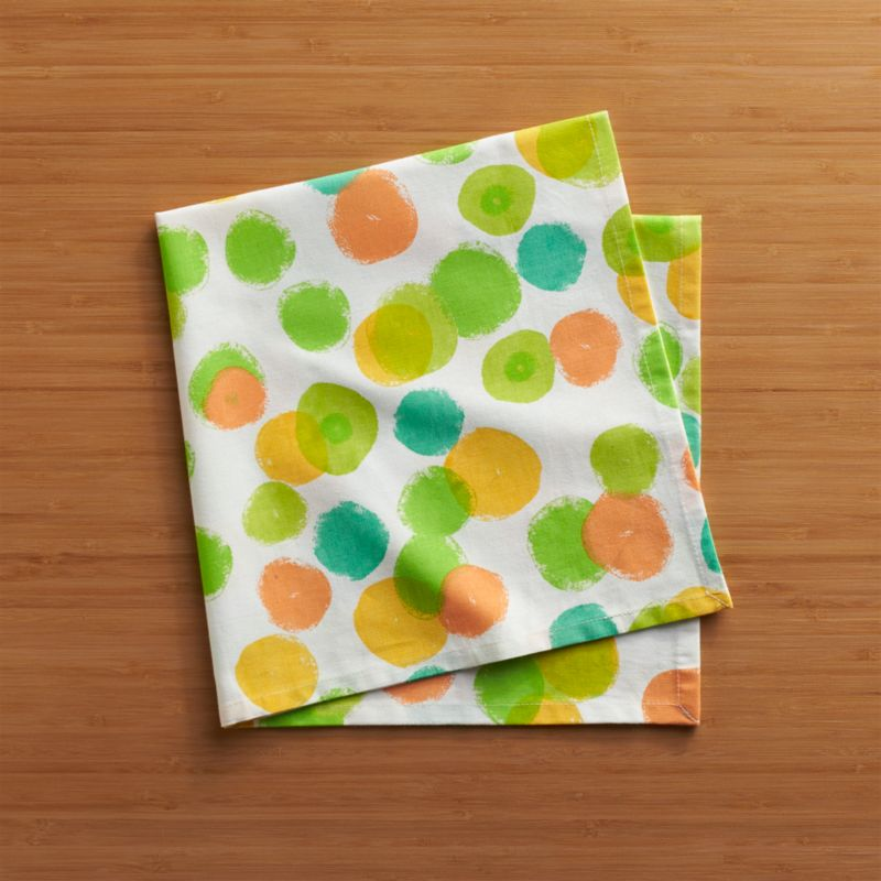 Bubbly dots scatter white cotton napkin with a confetti parade of watercolor brights.<br /><br /><NEWTAG/><ul><li>100% cotton</li><li>Do not bleach</li><li>Machine wash cold, tumble dry; warm iron as needed</li><li>Made in India</li></ul>