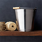 Stainless Steel Bucket with Wood Handle.