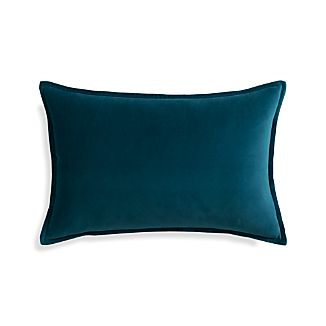 "Buckley Teal 24""x16"" Pillow with Feather-Down Insert"