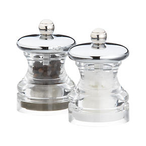 Button Salt and Pepper Mini Mills Set of Two