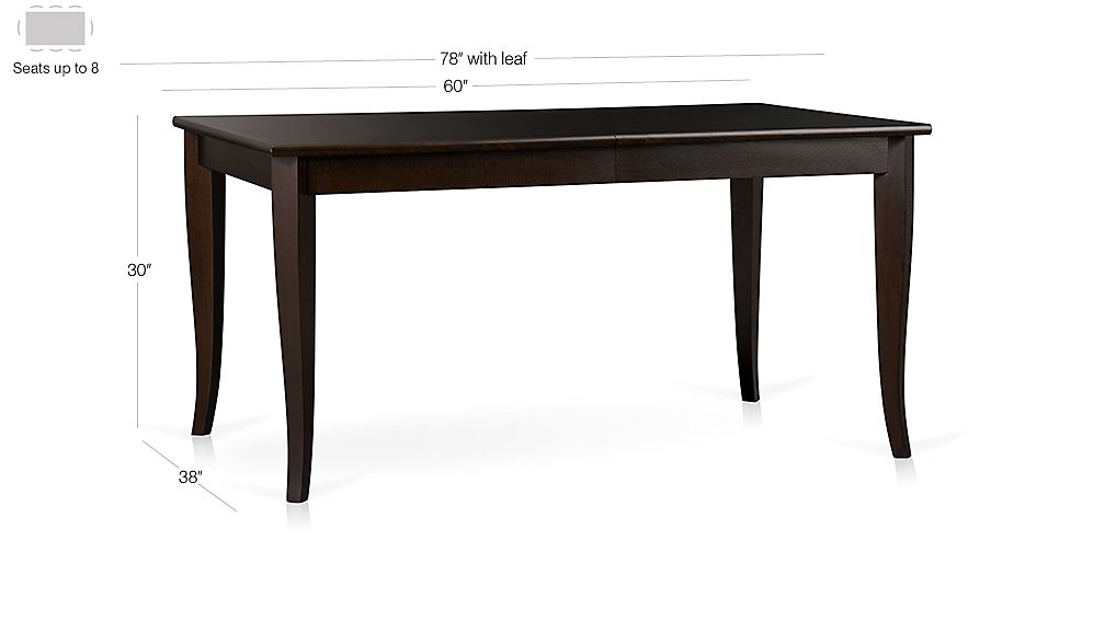 Cabria Dark Extension Dining Table Dimensions