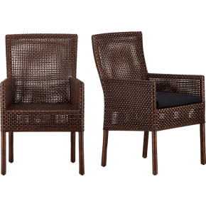 Cabria Honey Brown Woven Arm Chair and Black Cushion