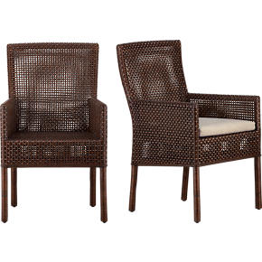 Cabria Honey Brown Woven Arm Chair and Natural Cushion