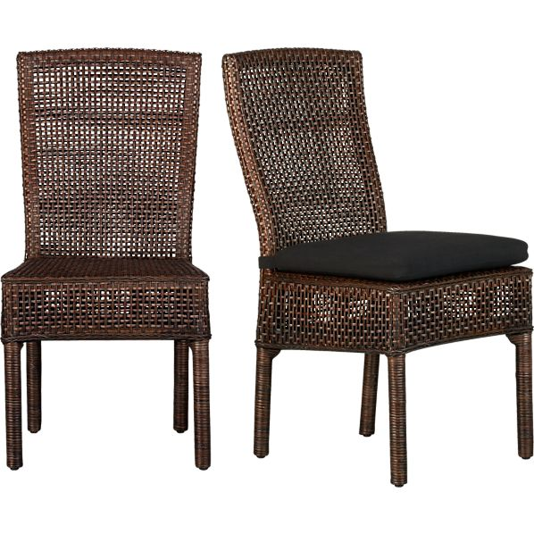 Cabria Honey Brown Woven Side Chair and Cushion
