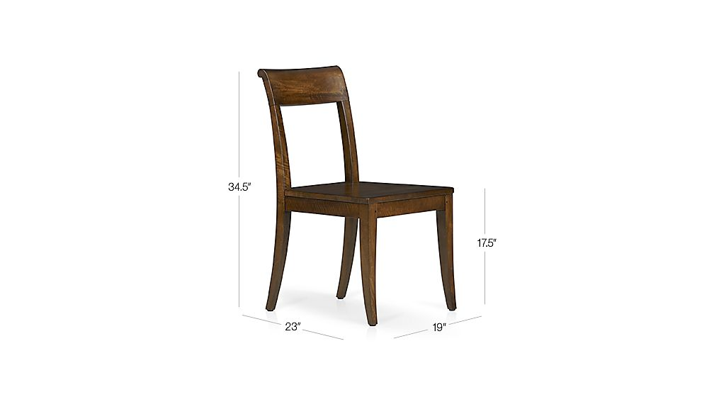 Cabria Honey Brown Wood Side Chair Dimensions