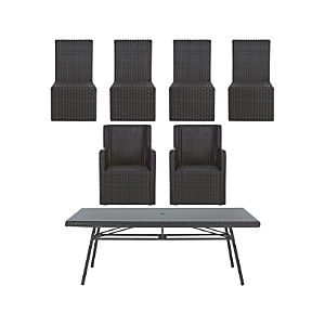 Calistoga 7-Piece Rectangular Dining Set with Arm Chairs