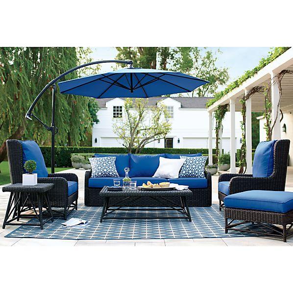 Calistoga Sunbrella Mediterranean Blue Wingback Ottoman