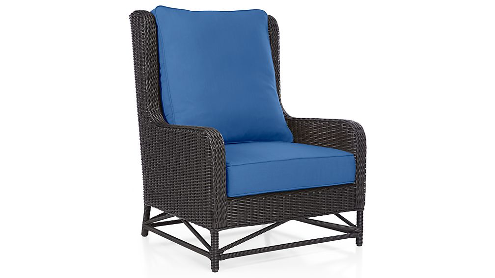 Calistoga Sunbrella Wingback Lounge Chair Cushion Mediterranean Blue