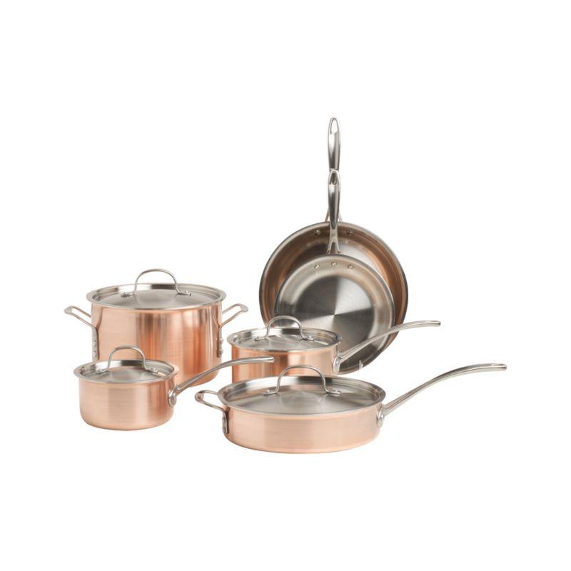 Calphalon Tri Ply Copper 10 Piece Cookware Set Crate And Barrel