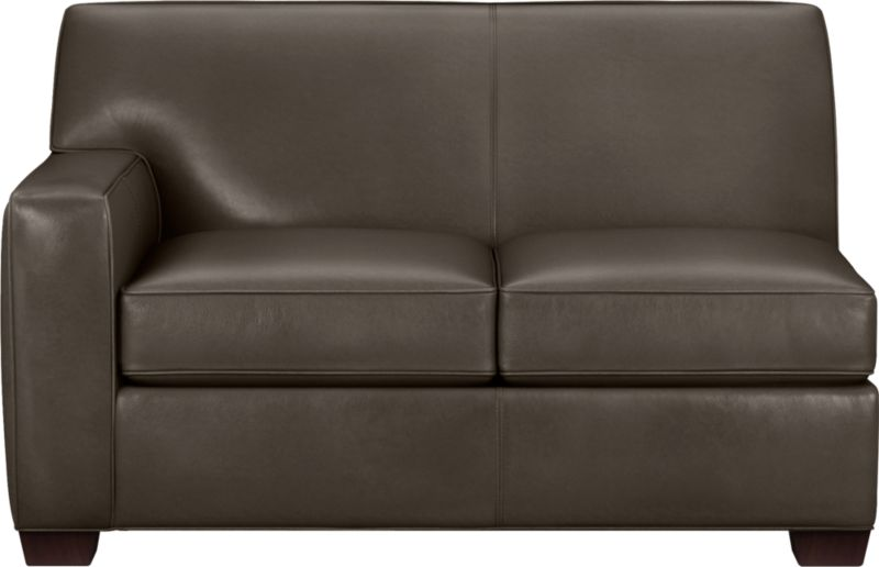 The classic modern leather loveseat we've all been looking for in the richest, most supple leather there is—clean-lined but not too edgy, graceful but never fussy. Top-grain Italian hide is aniline-dyed and hand-stained to a handsome tonal effect that only gets more lustrous with time. Natural pebble grain is beautifully showcased by impeccable tailoring with self-welt detail. Made to mix modular, single wide track arms frame plush, generous seat cushions that sink deep into a comfortably angled tight back. Hardwood legs are stained black walnut.<br /><br />After you place your order, we will send a leather swatch via next day air for your final approval. We will contact you to verify both your receipt and approval of the leather swatch before finalizing your order.<br /><br /><NEWTAG/><ul><li>Eco-friendly construction</li><li>Certified sustainable kiln-dried hardwood frame</li><li>Seat cushions are soy-based polyfoam wrapped in regenerated synthetic fiber and encased in downproof ticking</li><li>Tight back is filled with soy-based polyfoam and regenerated synthetic fibers</li><li>Sinuous wire spring suspension</li><li>Upholstered in aniline-dyed leather with self-welt detailing</li><li>Benchmade</li><li>See additional frame options below</li><li>Made in North Carolina, USA</li></ul>