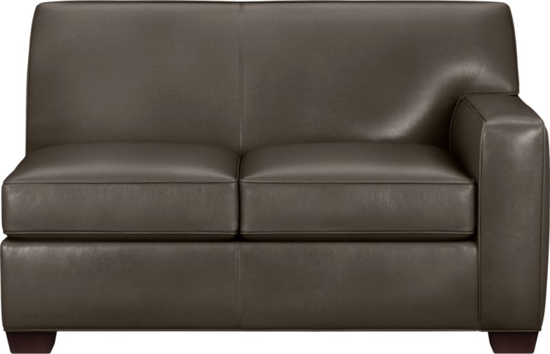 The classic modern leather loveseat we've all been looking for in the richest, most supple leather there is—clean-lined but not too edgy, graceful but never fussy. Top-grain Italian hide is aniline-dyed and hand-stained to a handsome tonal effect that only gets more lustrous with time. Natural pebble grain is beautifully showcased by impeccable tailoring with self-welt detail. Made to mix modular, single wide track arms frame plush, generous seat cushions that sink deep into a comfortably angled tight back. Hardwood legs are stained black walnut.<br /><br />After you place your order, we will send a leather swatch via next day air for your final approval. We will contact you to verify both your receipt and approval of the leather swatch before finalizing your order.<br /><br /><NEWTAG/><ul><li>Eco-friendly construction</li><li>Certified sustainable kiln-dried hardwood frame</li><li>Seat cushions are soy-based polyfoam wrapped in regenerated synthet