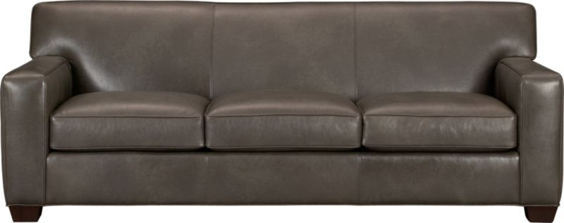 The classic modern leather sofa we've all been looking for in the richest, most supple leather there is—clean-lined but not too edgy, graceful but never fussy. Top-grain Italian hide is aniline-dyed and hand-stained to a handsome tonal effect. Natural pebble grain is beautifully showcased by impeccable tailoring with self-welt detail. Wide track arms frame plush, generous seat cushions that sink deep into a comfortably angled tight back. Hardwood legs are stained black walnut.<br /><br />After you place your order, we will send a leather swatch via next day air for your final approval. We will contact you to verify both your receipt and approval of the leather swatch before finalizing your order.<br /><br /><NEWTAG/><ul><li>Eco-friendly construction</li><li>Certified sustainable kiln-dried hardwood frame</li><li>Seat cushions are soy-based polyfoam wrapped in regenerated synthetic fiber and encased in downproof ticking</li><li>Tight back is filled with soy-based polyfoam and regenerated synthetic fibers</li><li>Sinuous wire spring suspension</li><li>Upholstered in aniline-dyed leather with self-welt detailing</li><li>Benchmade</li><li>Made in North Carolina, USA</li></ul>