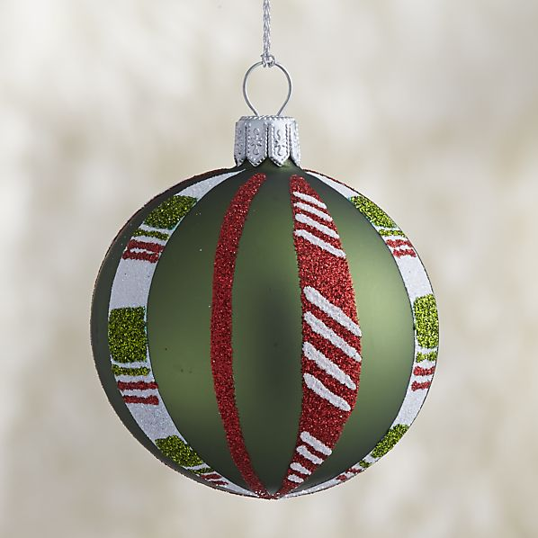 Green Candy Stripe Ball Ornament
