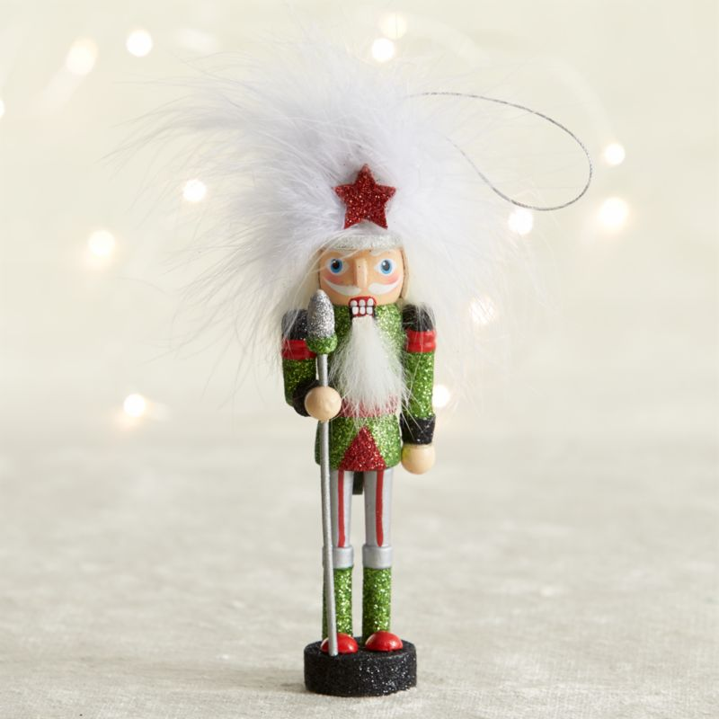 Green Guard Candy Stripe Nutcracker Ornament