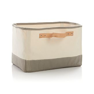 Canvas Rectangular Bin with Leather Handles