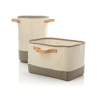 Canvas Bins with Leather Handles