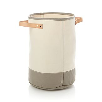 Canvas Round Bin with Leather Handles
