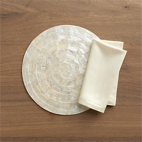 Capiz Shell Round Placemat and Sateen Ivory Napkin
