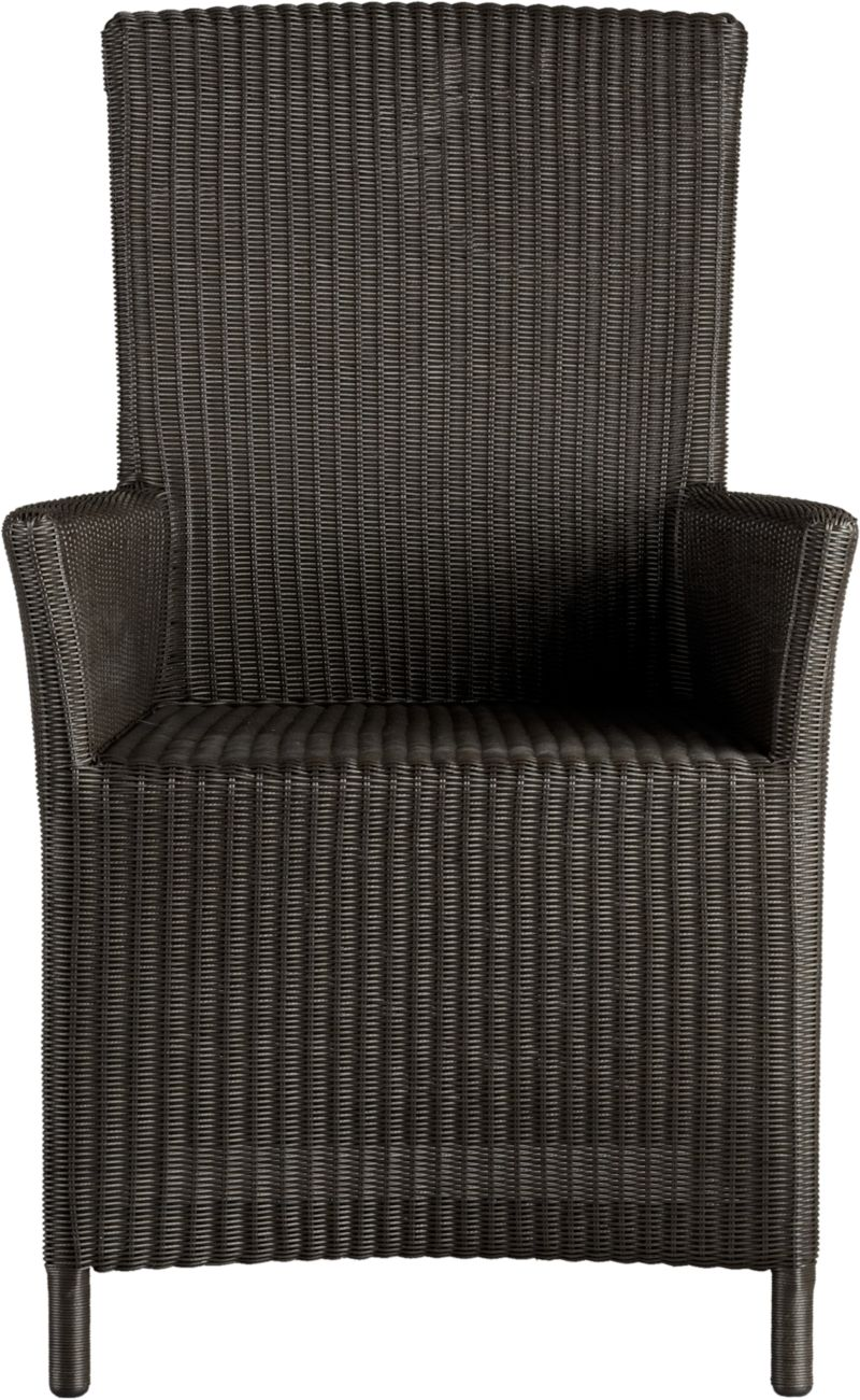 "A new dining dress code. All-weather wicker with a java brown finish ""slipcovers"" a powdercoated aluminum frame that can move from the dining room to the patio and back again. Clean-lined, comfortable arm chair has gently curved armrests, generous seat and high, angled back.<br /><br /><NEWTAG/><ul><li>Resin wicker</li><li>Aluminum frame with powdercoat finish</li><li>Synthetic webbing</li><li>Made in Indonesia</li></ul>"
