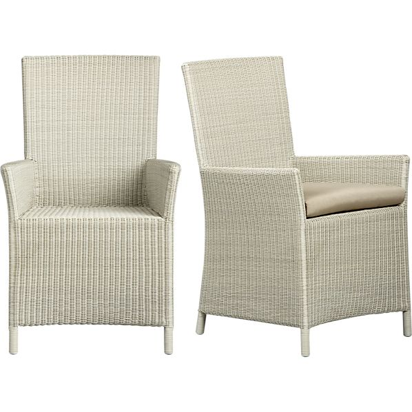 Captiva Seaside White Arm Chair and Cushion