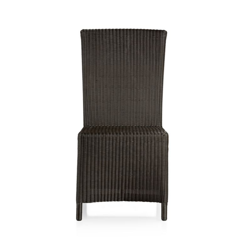 "A new dining dress code. All-weather wicker with a java brown finish ""slipcovers"" a powdercoated aluminum frame that can move from the dining room to the patio and back again. Clean-lined, comfortable side chair has a generous seat and high, angled back.<br /><br /><NEWTAG/><ul><li>Resin wicker</li><li>Aluminum frame with powdercoat finish</li><li>Synthetic webbing</li><li>Made in Indonesia</li></ul>"