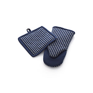 Carbon Blue Stripe Pot Holder and Oven Mitt