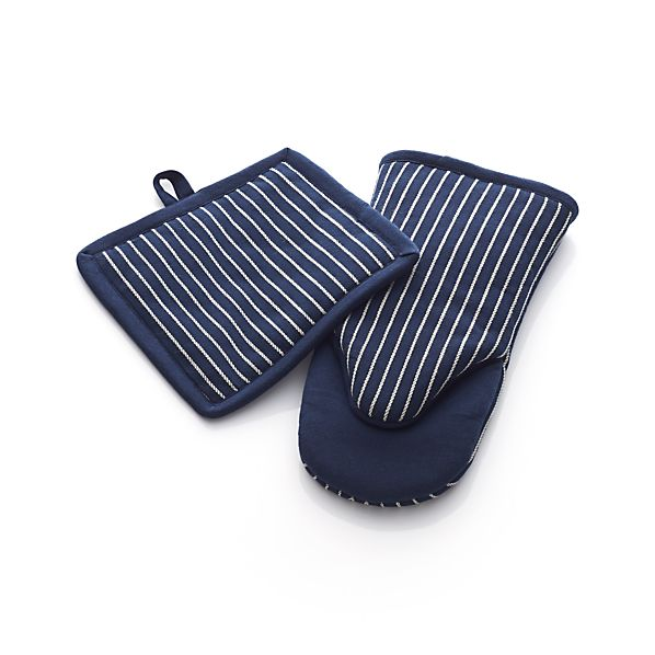 Carbon Blue Stripe Potholder and Oven Mitt