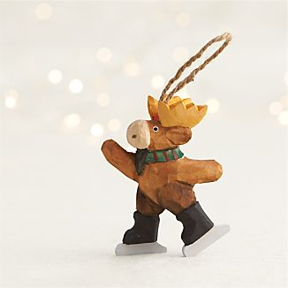 Carved Moose Skating Ornament