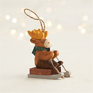 Carved Moose Sledding Ornament