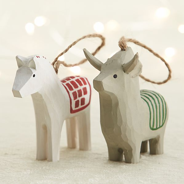 Carved Wood Horse and Donkey Ornaments
