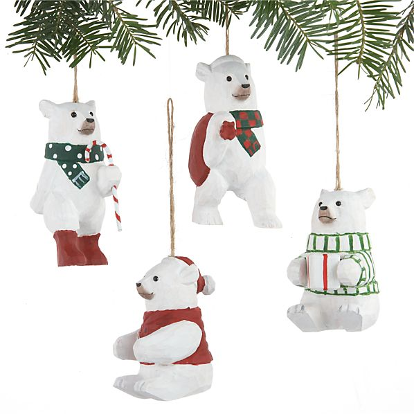 Set of 4 Carved Wood Polar Bear Ornaments
