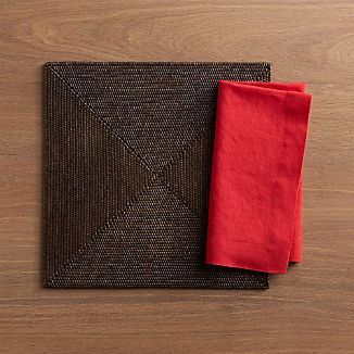Casablanca Square Placemat and Helena Cherry Linen Napkin