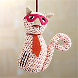 Cat with Necktie and Glasses Ornament