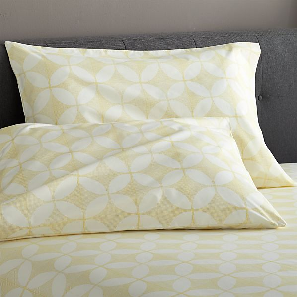 Set of 2 Cate Yellow Standard Pillow Cases