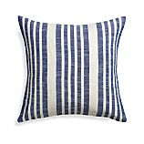 "Celena Blue Stripe 23"" Pillow with Feather-Down Insert"