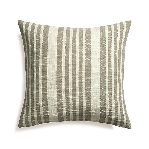 "Celena Grey Stripe 23"" Pillow with Down-Alternative Insert"